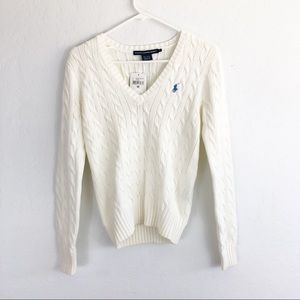 Ralph Lauren Sport Cable Knit Cream Sweater